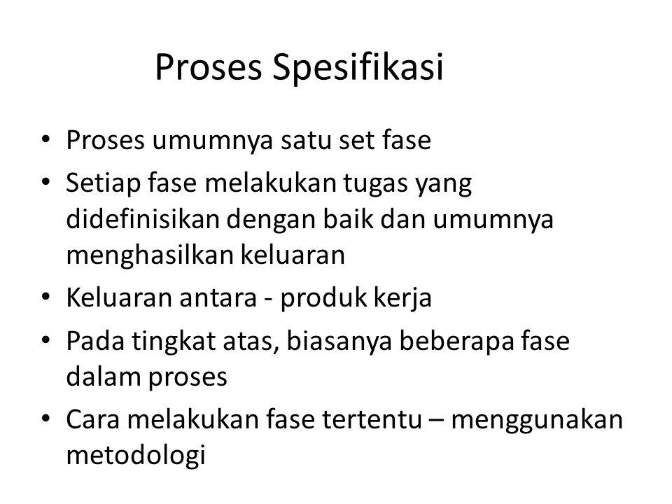 Proses Spesifikasi Proses umumnya satu set fase Setiap fase melakukan tugas yang didefinisikan dengan baik dan umumnya menghasilkan keluaran Keluaran