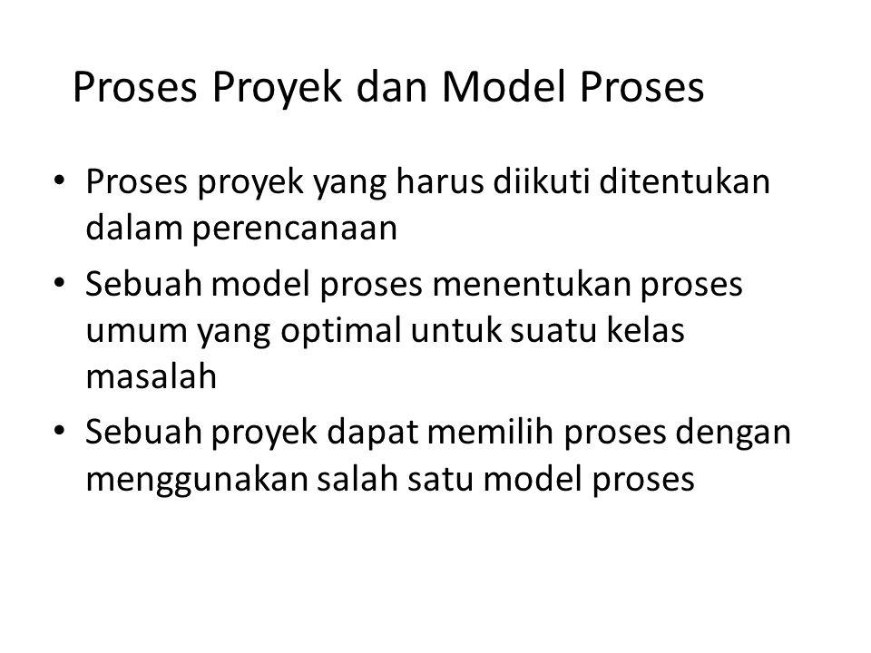 Proses Proyek dan Model Proses Proses proyek yang harus diikuti ditentukan dalam perencanaan Sebuah model proses menentukan proses umum yang optimal u