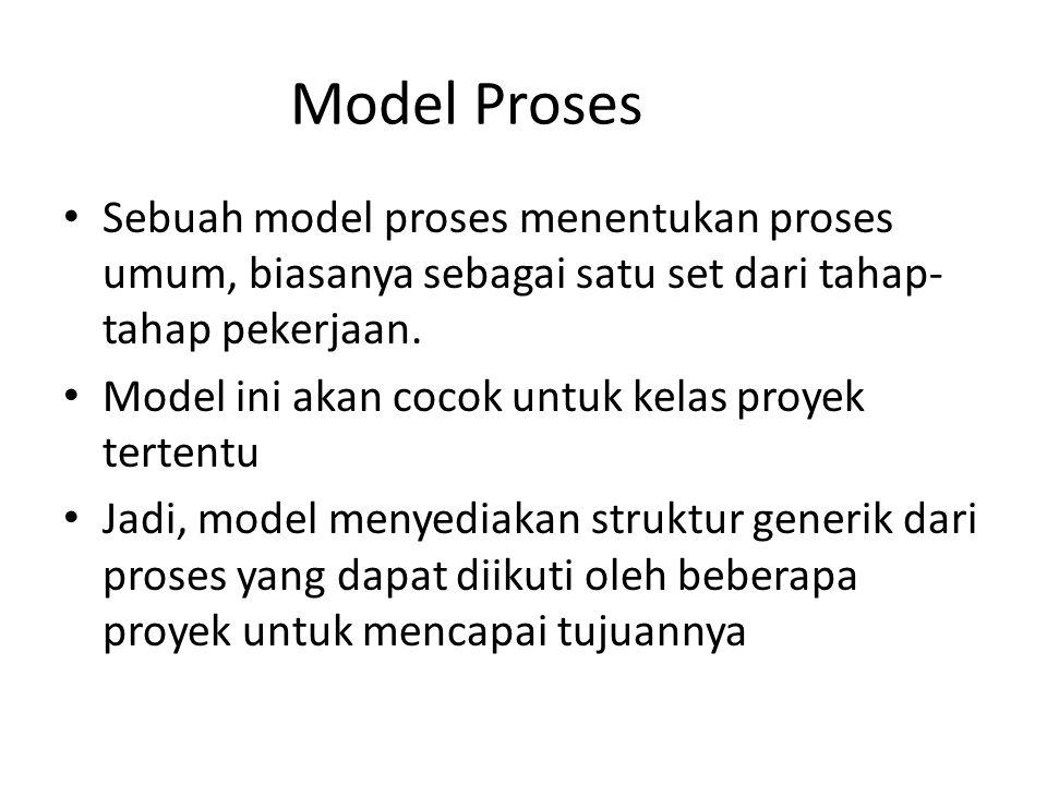 Model Proses Sebuah model proses menentukan proses umum, biasanya sebagai satu set dari tahap- tahap pekerjaan. Model ini akan cocok untuk kelas proye