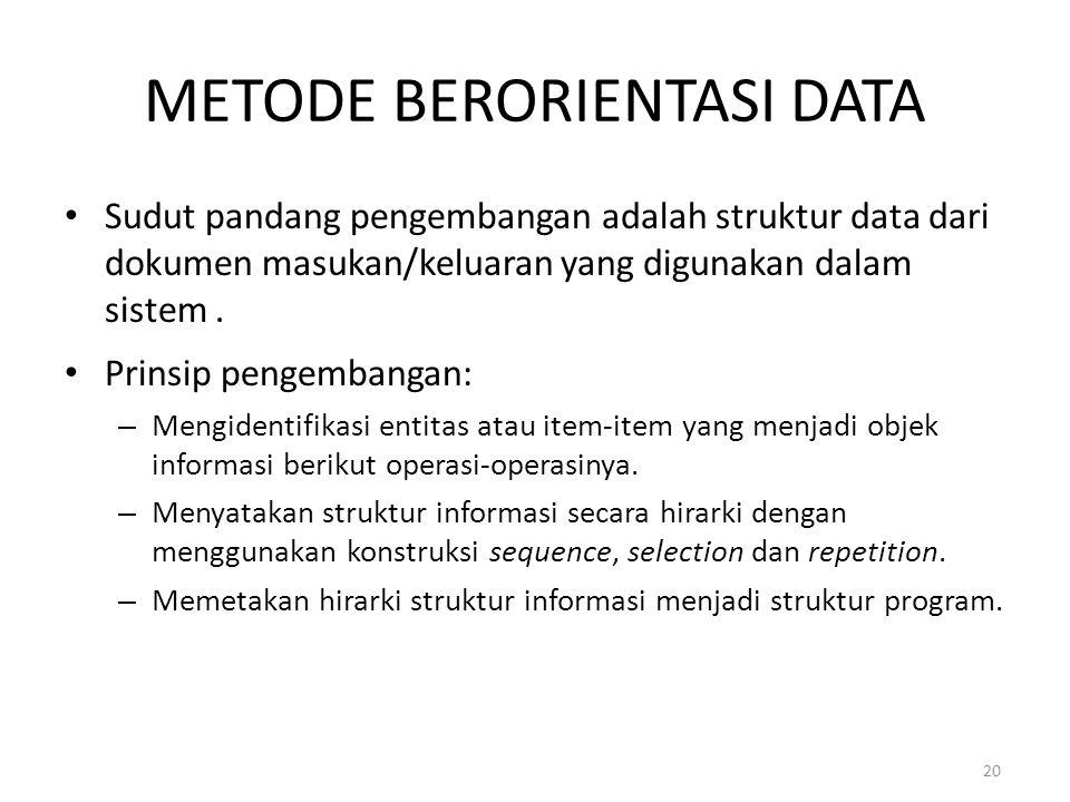 20 METODE BERORIENTASI DATA Sudut pandang pengembangan adalah struktur data dari dokumen masukan/keluaran yang digunakan dalam sistem. Prinsip pengemb