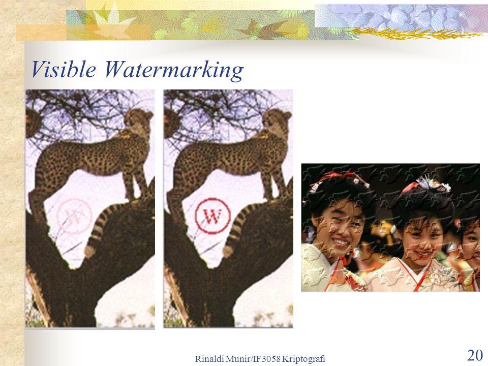 Rinaldi Munir/IF3058 Kriptografi 20 Visible Watermarking