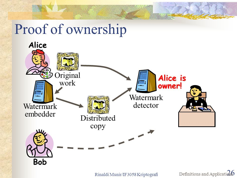 Rinaldi Munir/IF3058 Kriptografi 26 Proof of ownership Original work Distributed copy Watermark detector Alice is owner! Watermark embedder Alice Bob