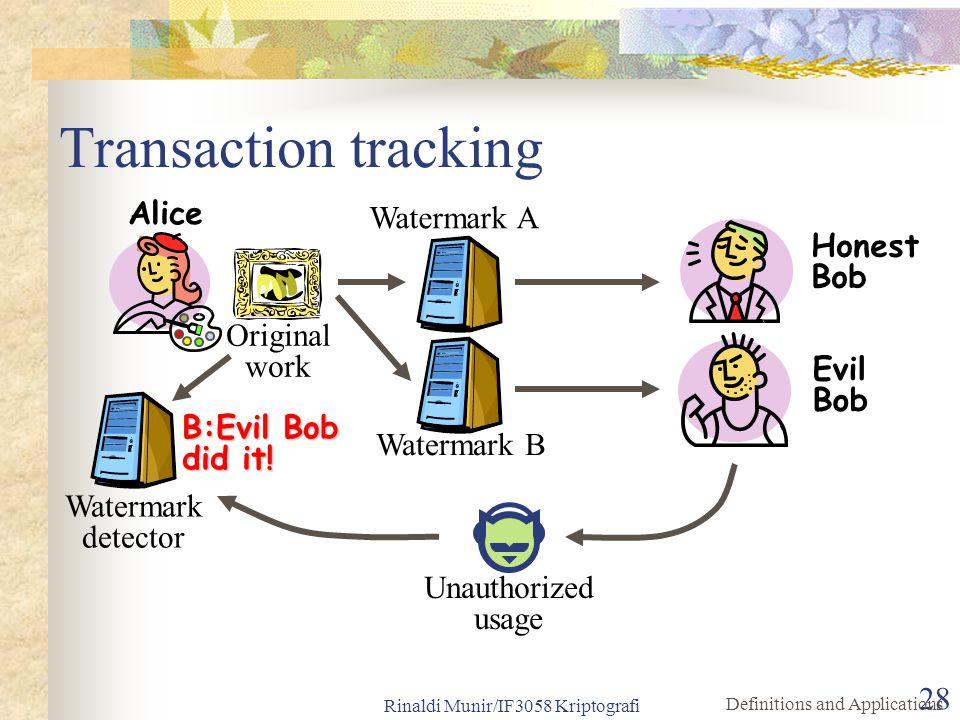 Rinaldi Munir/IF3058 Kriptografi 28 Transaction tracking Original work Honest Bob Watermark detector B:Evil Bob did it! Watermark A Evil Bob Unauthori