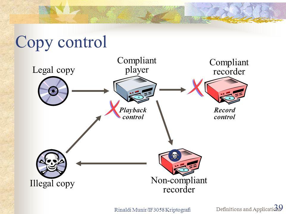 Rinaldi Munir/IF3058 Kriptografi 39 Copy control Compliant recorder Compliant player Legal copy Illegal copy Playback control Record control Definitio