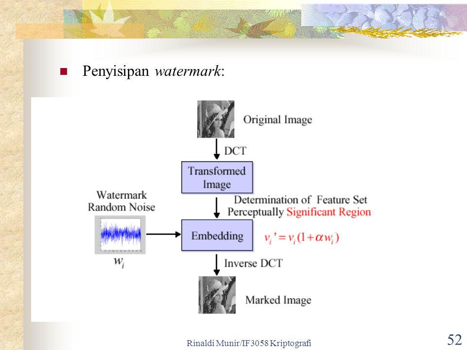 Rinaldi Munir/IF3058 Kriptografi 52 Penyisipan watermark: