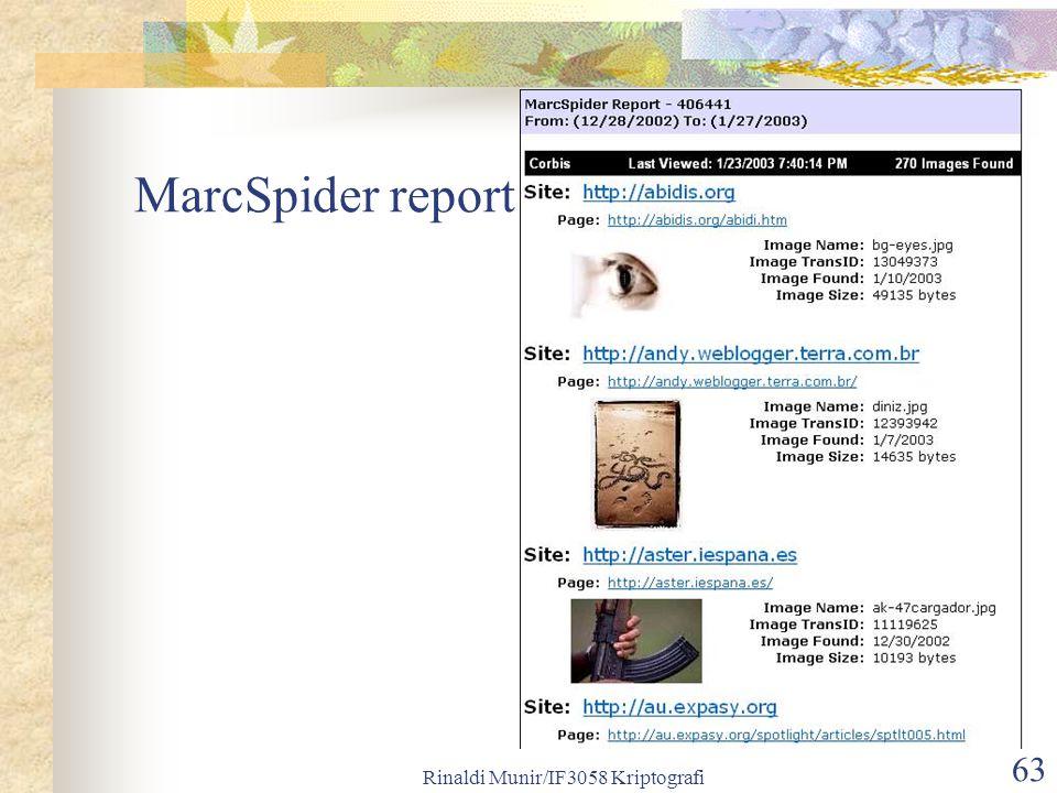 Rinaldi Munir/IF3058 Kriptografi 63 MarcSpider report