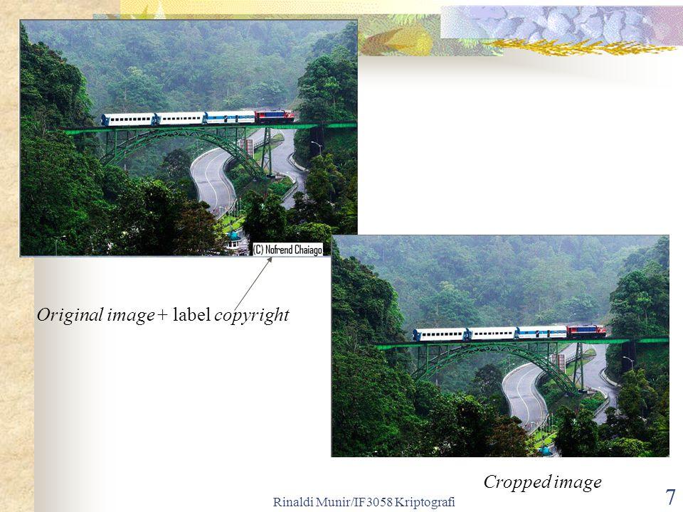 Rinaldi Munir/IF3058 Kriptografi 7 Original image + label copyright Cropped image