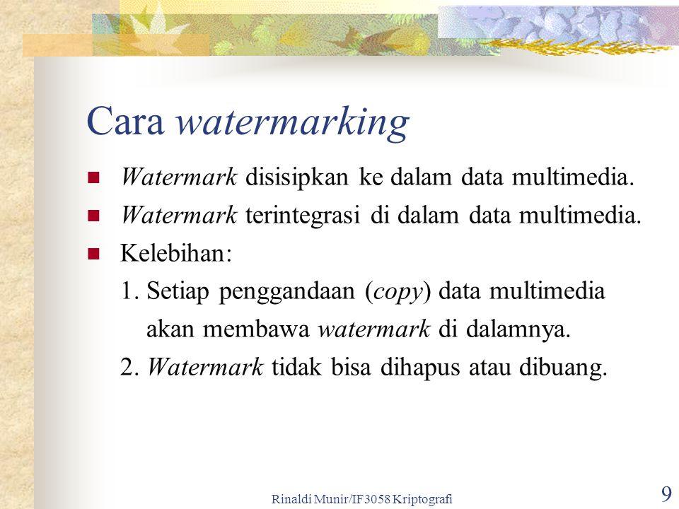 Rinaldi Munir/IF3058 Kriptografi 9 Cara watermarking Watermark disisipkan ke dalam data multimedia. Watermark terintegrasi di dalam data multimedia. K