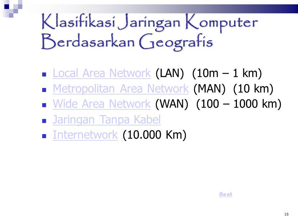16 Klasifikasi Jaringan Komputer Berdasarkan Geografis Local Area Network (LAN) (10m – 1 km) Local Area Network Metropolitan Area Network (MAN) (10 k