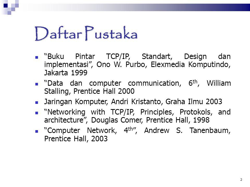 "2 Daftar Pustaka ""Buku Pintar TCP/IP, Standart, Design dan implementasi"", Ono W. Purbo, Elexmedia Komputindo, Jakarta 1999 ""Data dan computer communic"