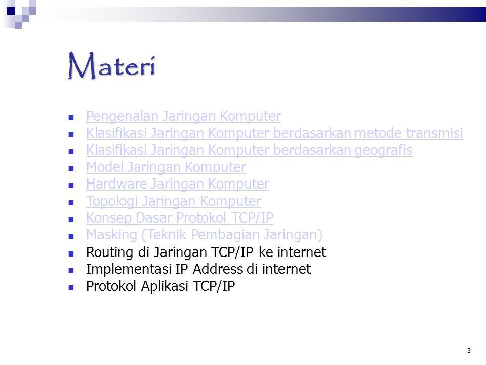 3 Materi Pengenalan Jaringan Komputer Pengenalan Jaringan Komputer Klasifikasi Jaringan Komputer berdasarkan metode transmisi Klasifikasi Jaringan Kom