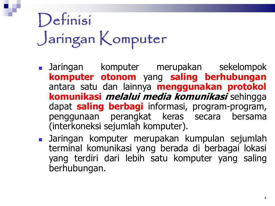 4 Definisi Jaringan Komputer Jaringan komputer merupakan sekelompok komputer otonom yang saling berhubungan antara satu dan lainnya menggunakan protok