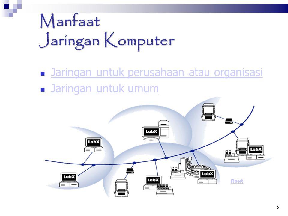 6 Manfaat Jaringan Komputer Jaringan untuk perusahaan atau organisasi Jaringan untuk perusahaan atau organisasi Jaringan untuk umum Jaringan untuk umu