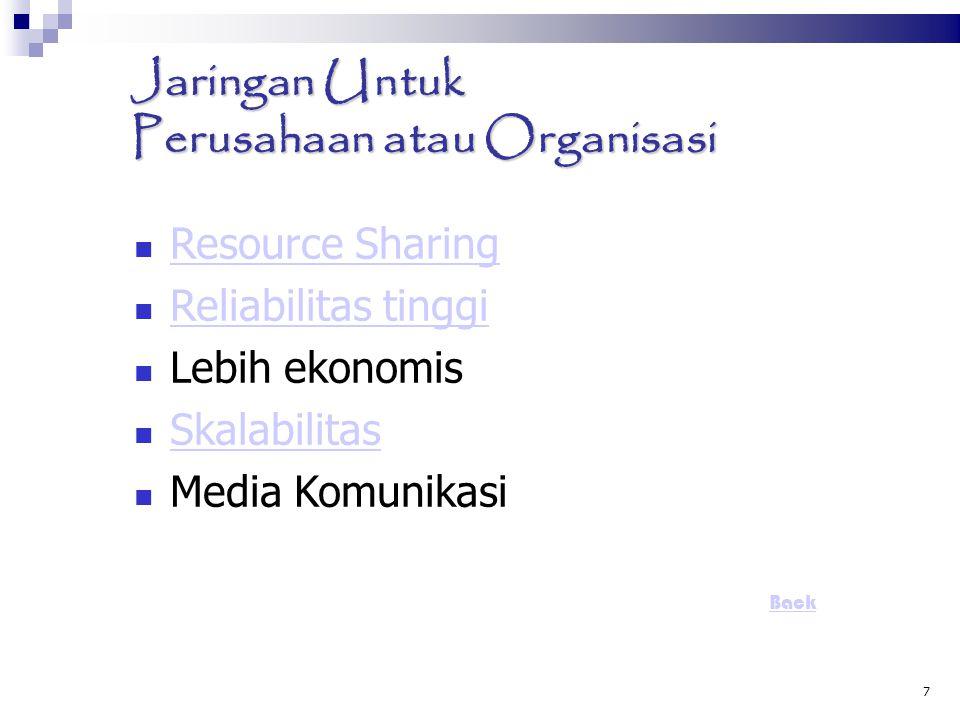 7 Jaringan Untuk Perusahaan atau Organisasi Resource Sharing Resource Sharing Reliabilitas tinggi Reliabilitas tinggi Lebih ekonomis Skalabilitas Medi