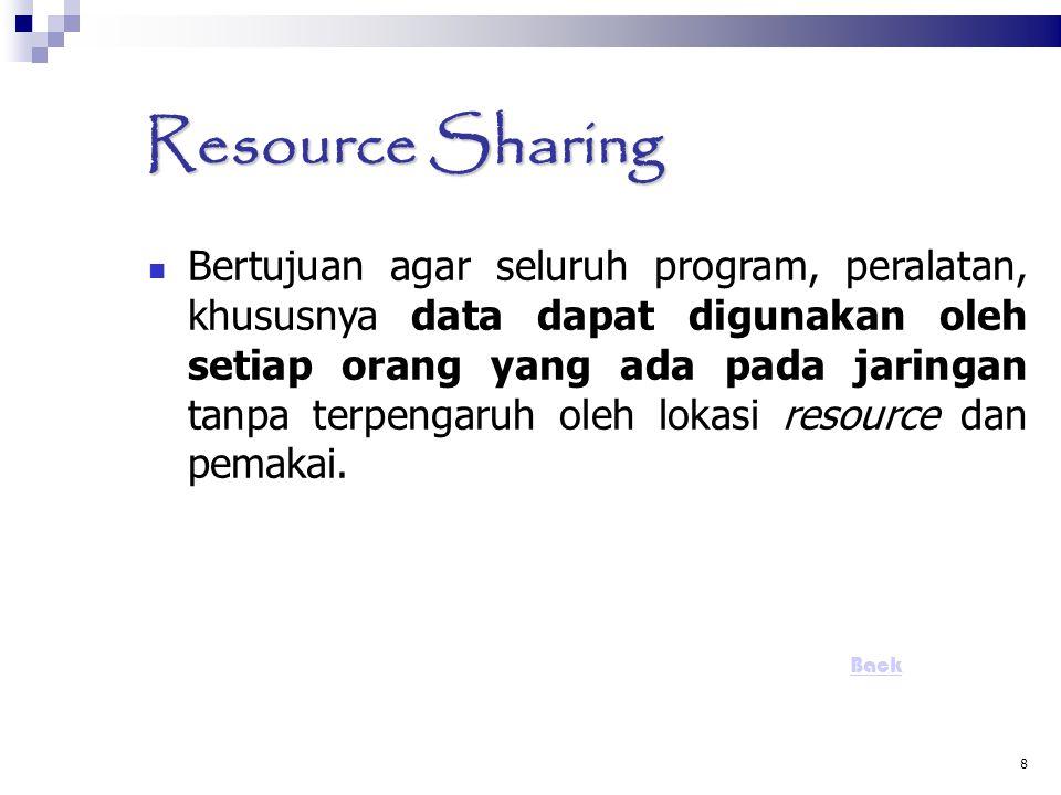 8 Resource Sharing Bertujuan agar seluruh program, peralatan, khususnya data dapat digunakan oleh setiap orang yang ada pada jaringan tanpa terpengaru