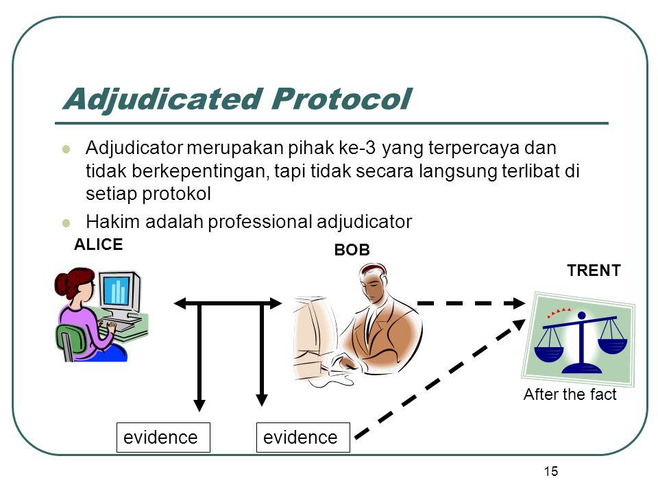 15 Adjudicated Protocol Adjudicator merupakan pihak ke-3 yang terpercaya dan tidak berkepentingan, tapi tidak secara langsung terlibat di setiap protokol Hakim adalah professional adjudicator BOB ALICE TRENT evidence After the fact