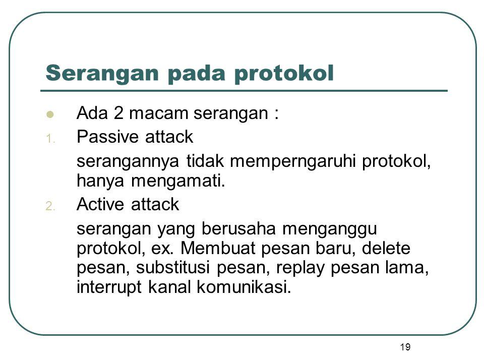 19 Serangan pada protokol Ada 2 macam serangan : 1.