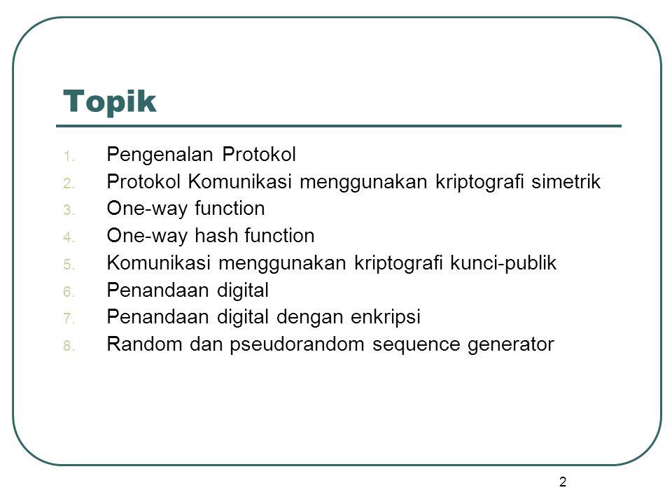 2 Topik 1.Pengenalan Protokol 2. Protokol Komunikasi menggunakan kriptografi simetrik 3.