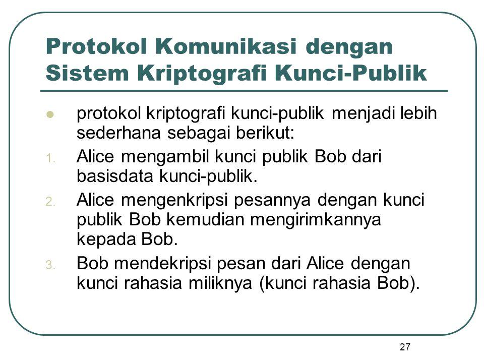 27 Protokol Komunikasi dengan Sistem Kriptografi Kunci-Publik protokol kriptografi kunci-publik menjadi lebih sederhana sebagai berikut: 1.
