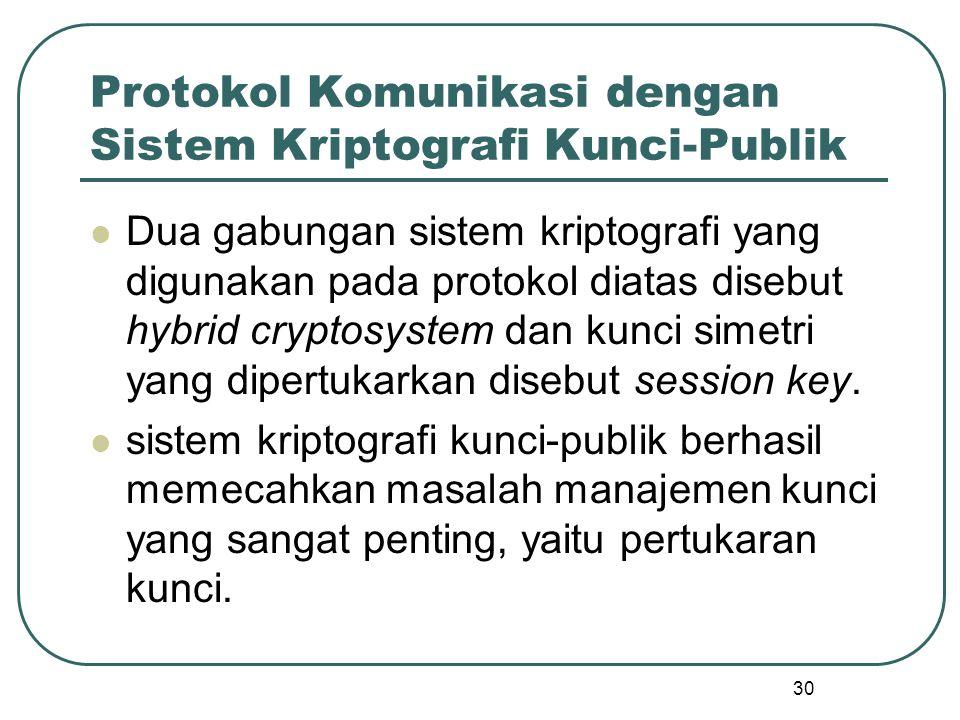 30 Protokol Komunikasi dengan Sistem Kriptografi Kunci-Publik Dua gabungan sistem kriptografi yang digunakan pada protokol diatas disebut hybrid cryptosystem dan kunci simetri yang dipertukarkan disebut session key.