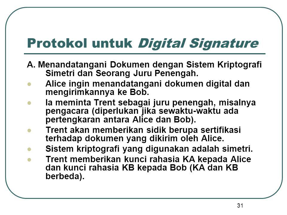 31 Protokol untuk Digital Signature A.
