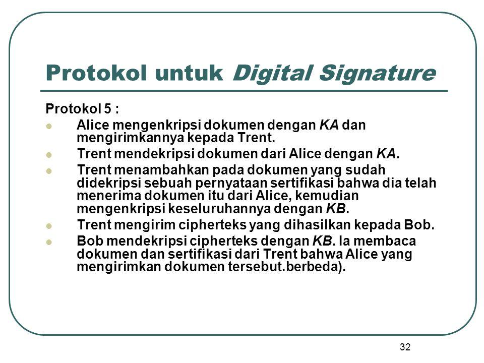 32 Protokol untuk Digital Signature Protokol 5 : Alice mengenkripsi dokumen dengan KA dan mengirimkannya kepada Trent.