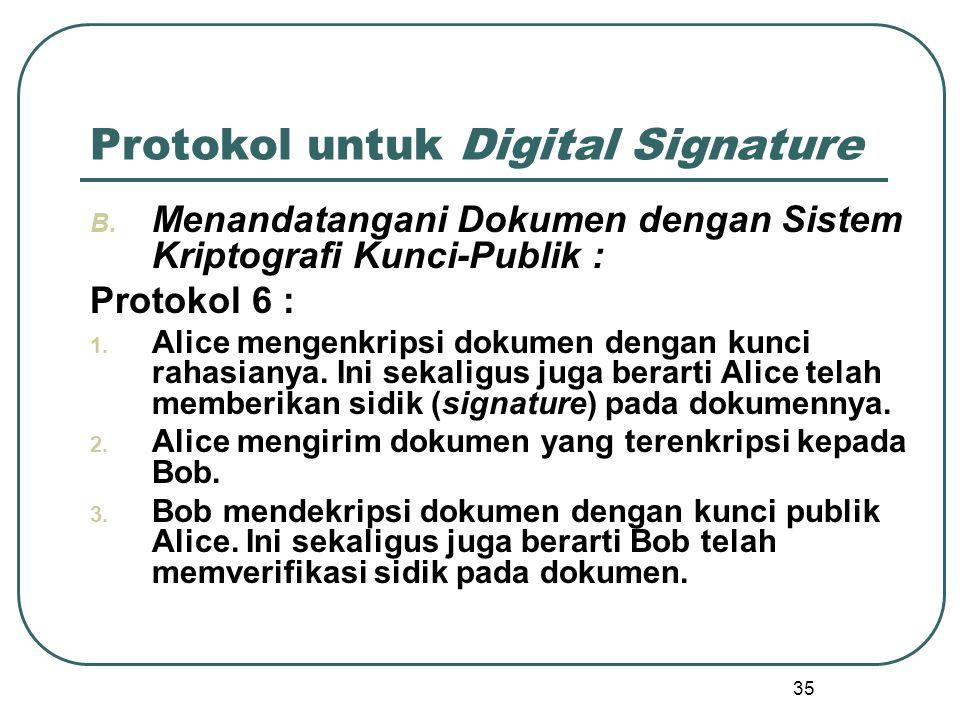 35 Protokol untuk Digital Signature B.