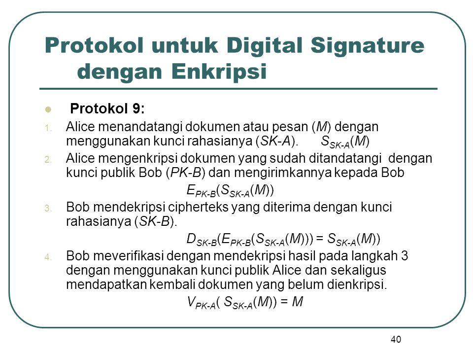 40 Protokol untuk Digital Signature dengan Enkripsi Protokol 9: 1.