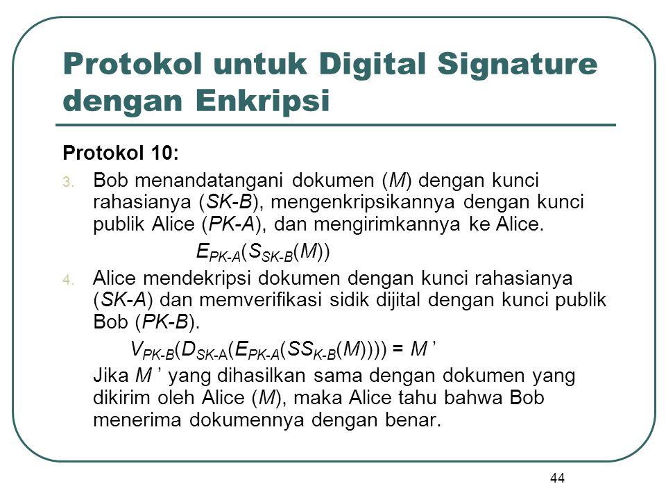 44 Protokol untuk Digital Signature dengan Enkripsi Protokol 10: 3.