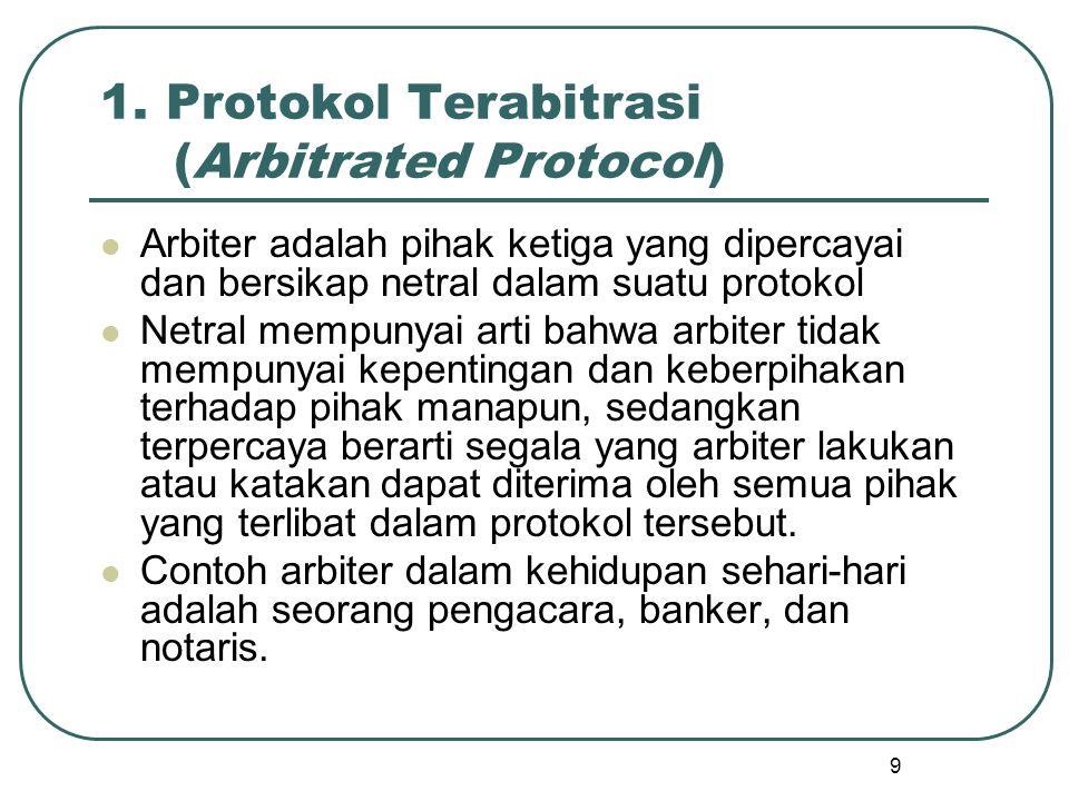 9 1. Protokol Terabitrasi (Arbitrated Protocol) Arbiter adalah pihak ketiga yang dipercayai dan bersikap netral dalam suatu protokol Netral mempunyai