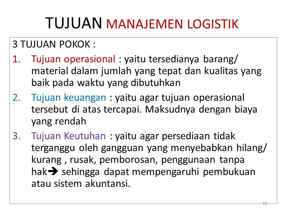TUJUAN MANAJEMEN LOGISTIK 3 TUJUAN POKOK : 1.Tujuan operasional : yaitu tersedianya barang/ material dalam jumlah yang tepat dan kualitas yang baik pa