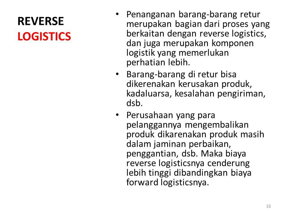 REVERSE LOGISTICS Penanganan barang-barang retur merupakan bagian dari proses yang berkaitan dengan reverse logistics, dan juga merupakan komponen log