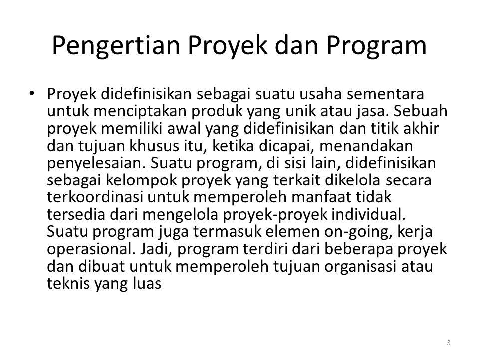 Pengertian Proyek dan Program Proyek didefinisikan sebagai suatu usaha sementara untuk menciptakan produk yang unik atau jasa. Sebuah proyek memiliki