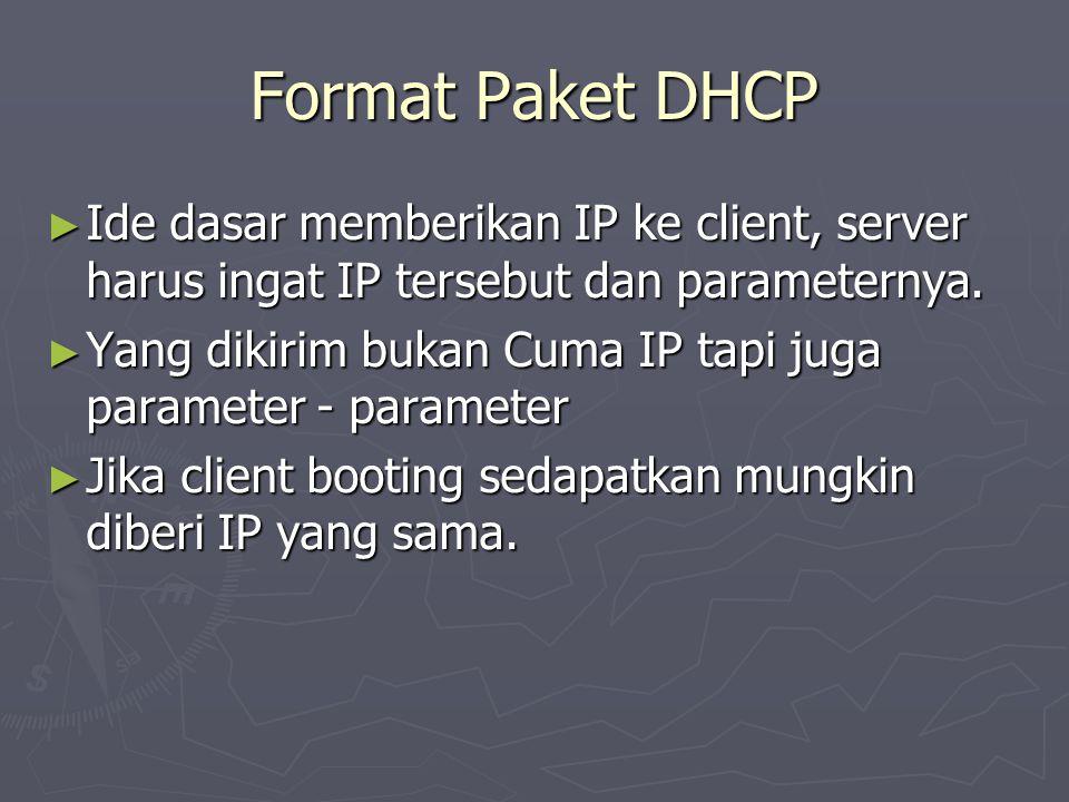 Format Paket DHCP ► Ide dasar memberikan IP ke client, server harus ingat IP tersebut dan parameternya. ► Yang dikirim bukan Cuma IP tapi juga paramet
