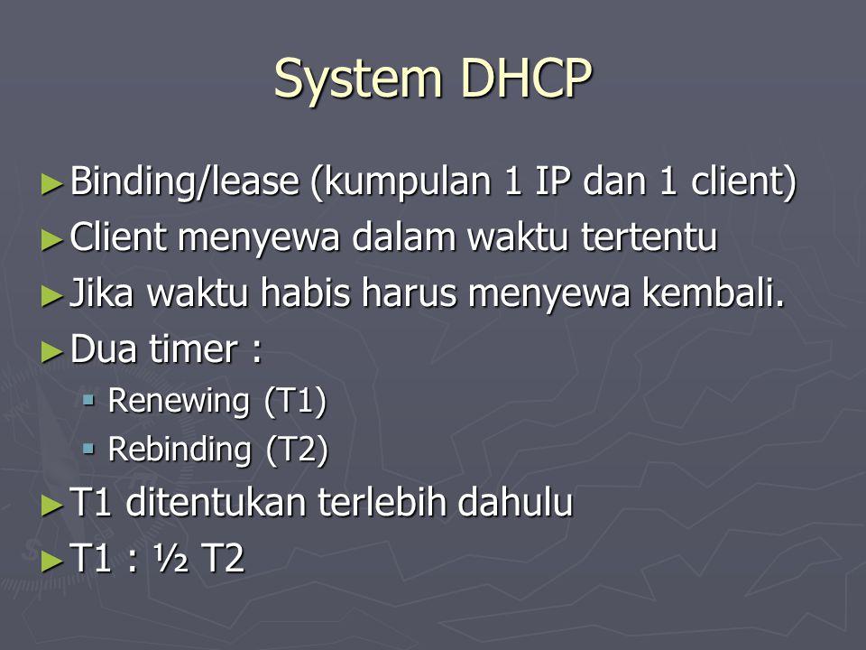 System DHCP ► Binding/lease (kumpulan 1 IP dan 1 client) ► Client menyewa dalam waktu tertentu ► Jika waktu habis harus menyewa kembali. ► Dua timer
