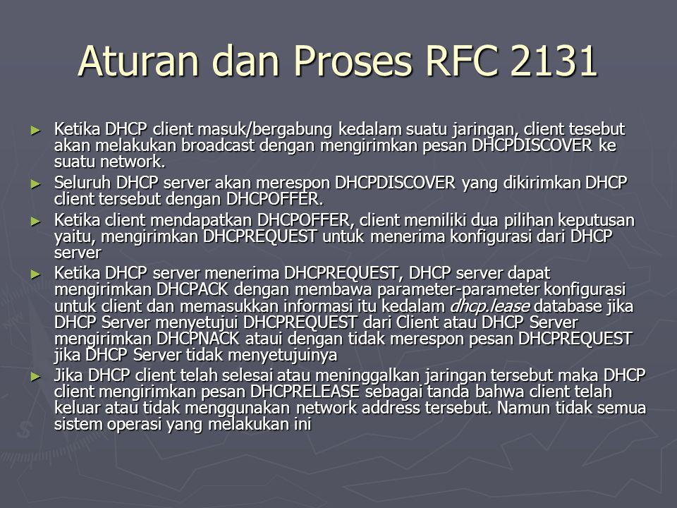 Aturan dan Proses RFC 2131 ► Ketika DHCP client masuk/bergabung kedalam suatu jaringan, client tesebut akan melakukan broadcast dengan mengirimkan pes