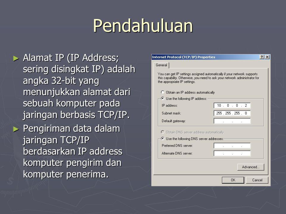 Pendahuluan ► Alamat IP (IP Address; sering disingkat IP) adalah angka 32-bit yang menunjukkan alamat dari sebuah komputer pada jaringan berbasis TCP/IP.