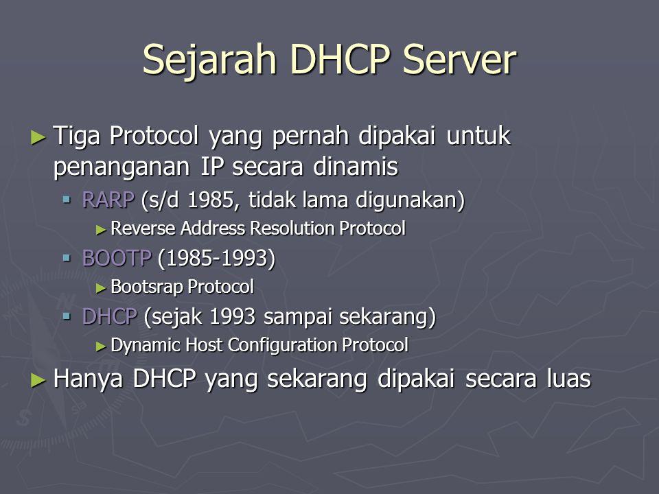 Sejarah DHCP Server ► Tiga Protocol yang pernah dipakai untuk penanganan IP secara dinamis  RARP (s/d 1985, tidak lama digunakan) ► Reverse Address