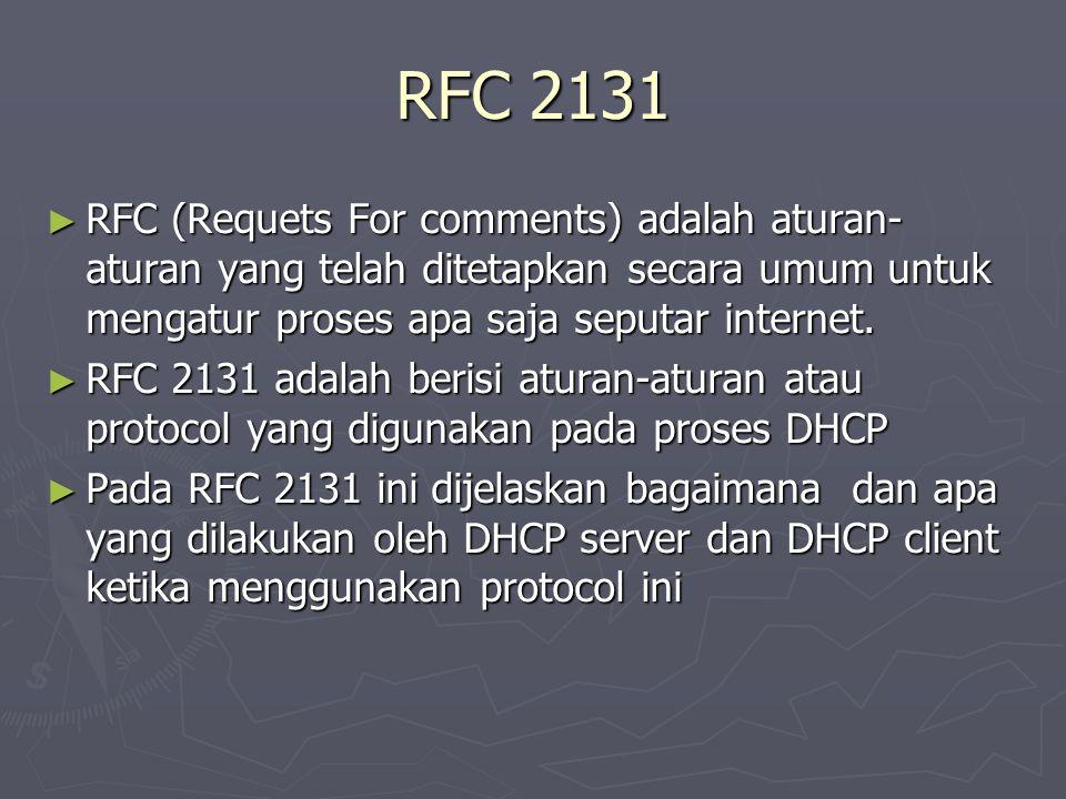 RFC 2131 ► RFC (Requets For comments) adalah aturan- aturan yang telah ditetapkan secara umum untuk mengatur proses apa saja seputar internet. ► RFC 2