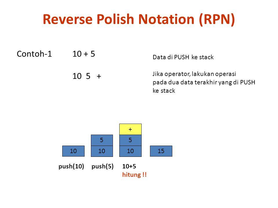 Contoh-3 10 * (5 +4) (banyaknya input > 2) 10, (5+4), * 10, ( 5, 4, +), * 10 5 4 + * A  B → A B  A  B → A B  10 5 5 4 9  9010 9 5 4 + Reverse Polish Notation (RPN)