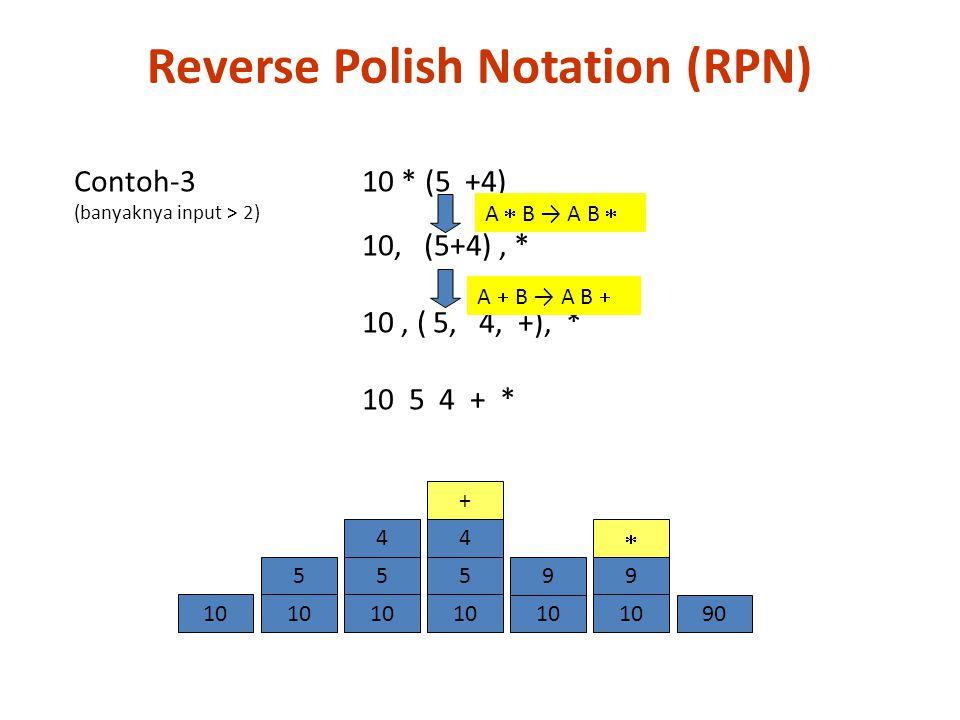 Contoh-3 10 * (5 +4) (banyaknya input > 2) 10, (5+4), * 10, ( 5, 4, +), * 10 5 4 + * A  B → A B  A  B → A B  10 5 5 4 9  9010 9 5 4 + Reverse Pol
