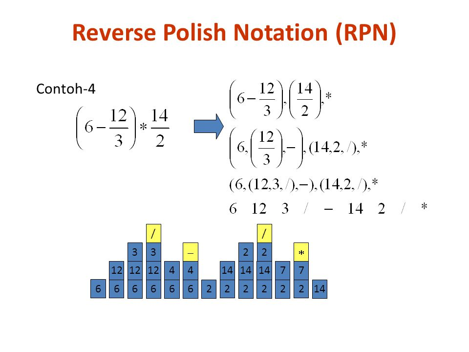 6 6 12 2 14 2 2 7  Contoh-4 6 12 3 6 3 / 6 4 22 14 2 / 2 2 7 6 4  Reverse Polish Notation (RPN)