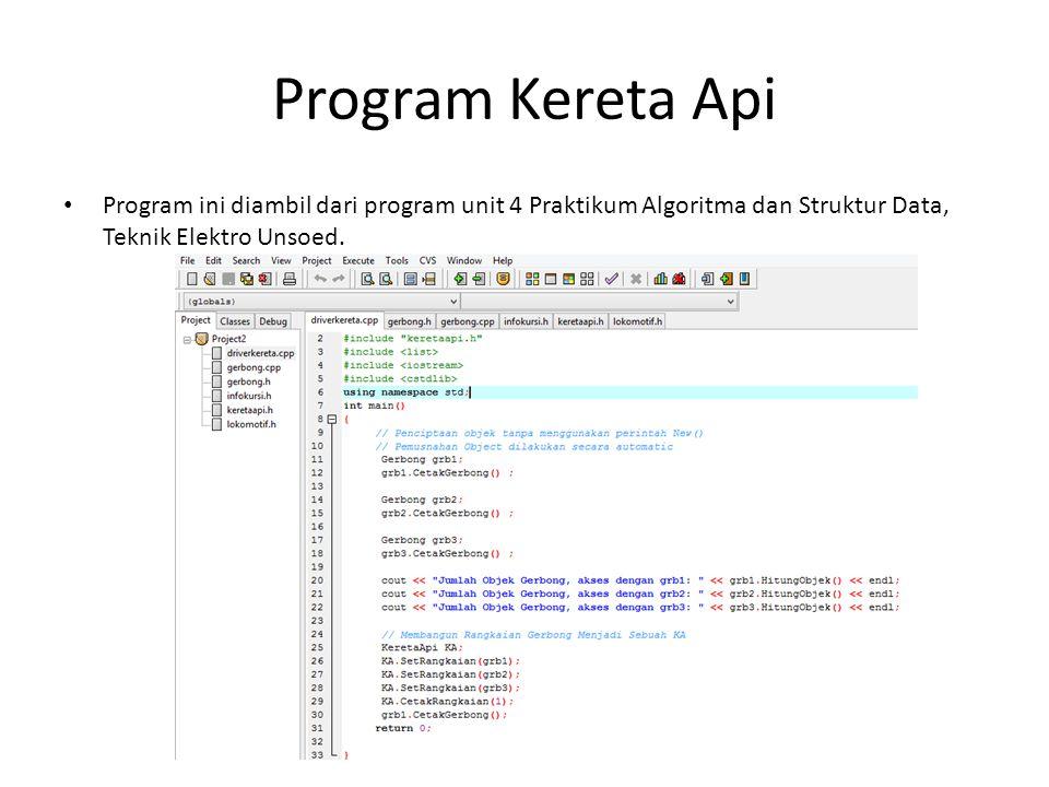 Program Kereta Api Program ini diambil dari program unit 4 Praktikum Algoritma dan Struktur Data, Teknik Elektro Unsoed.