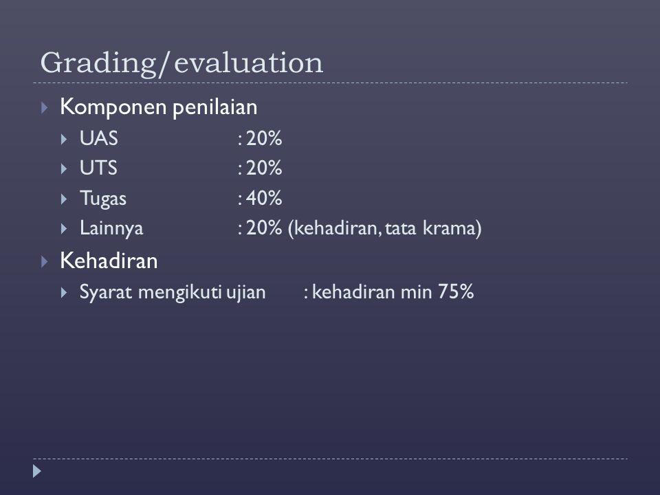 Grading/evaluation  Komponen penilaian  UAS: 20%  UTS: 20%  Tugas : 40%  Lainnya: 20% (kehadiran, tata krama)  Kehadiran  Syarat mengikuti ujia