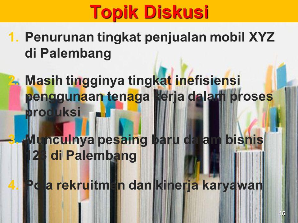 Topik Diskusi 1. 1.Penurunan tingkat penjualan mobil XYZ di Palembang 2. 2.Masih tingginya tingkat inefisiensi penggunaan tenaga kerja dalam proses pr