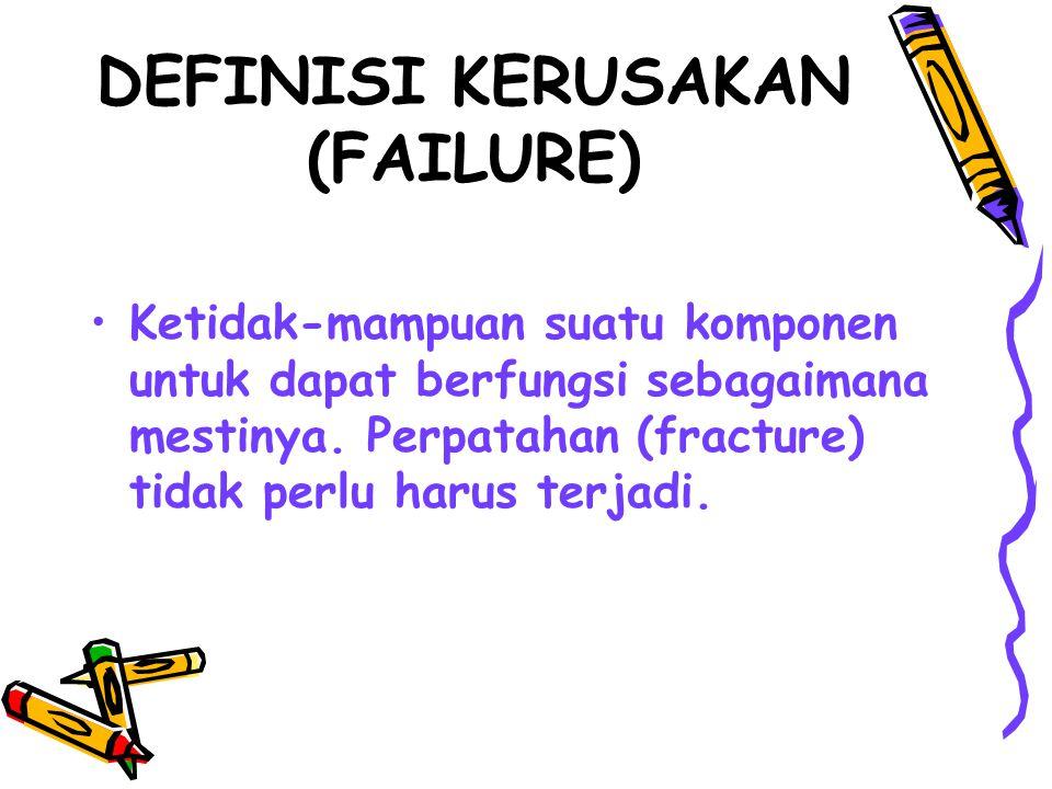 DEFINISI KERUSAKAN (FAILURE) Ketidak-mampuan suatu komponen untuk dapat berfungsi sebagaimana mestinya. Perpatahan (fracture) tidak perlu harus terjad