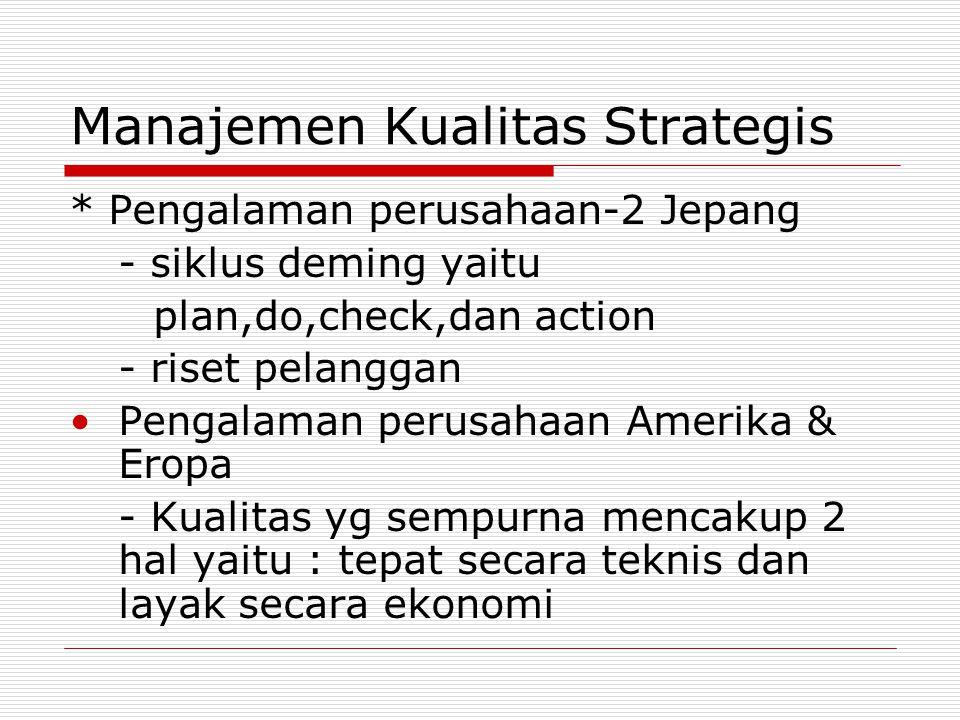 Manajemen Kualitas Strategis * Pengalaman perusahaan-2 Jepang - siklus deming yaitu plan,do,check,dan action - riset pelanggan Pengalaman perusahaan A