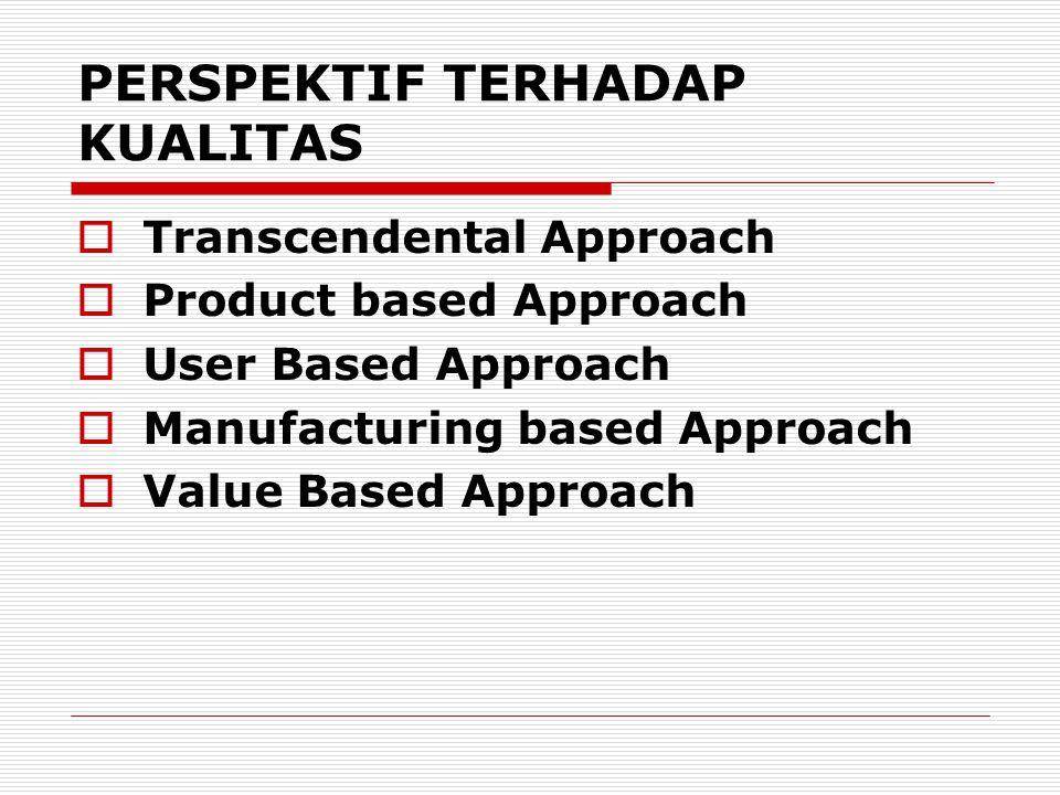 PERSPEKTIF TERHADAP KUALITAS  Transcendental Approach  Product based Approach  User Based Approach  Manufacturing based Approach  Value Based App