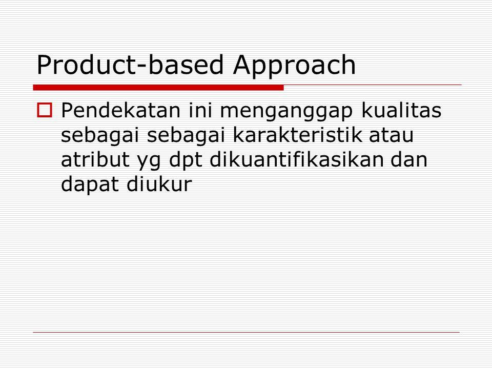 Product-based Approach  Pendekatan ini menganggap kualitas sebagai sebagai karakteristik atau atribut yg dpt dikuantifikasikan dan dapat diukur