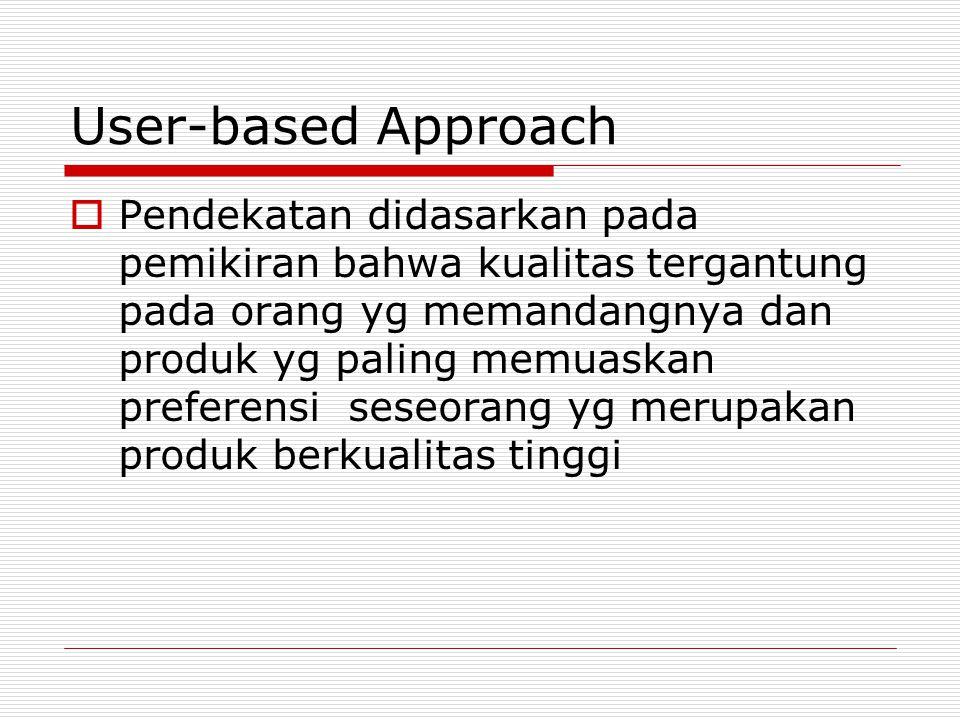 Manufacturing-based Approach  Memperhatikan praktik-2 perekayasaan dan pemanufacturan serta mendefinisikan kualitas sebagai sama dengan persyaratannya.